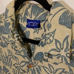 OP Hawaiian Print Buttoned Dress Shirt XL